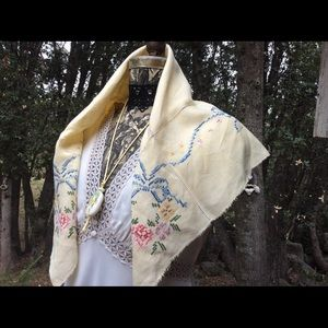 Vintage Linen Blue Chic Boho Embroidery Scarf